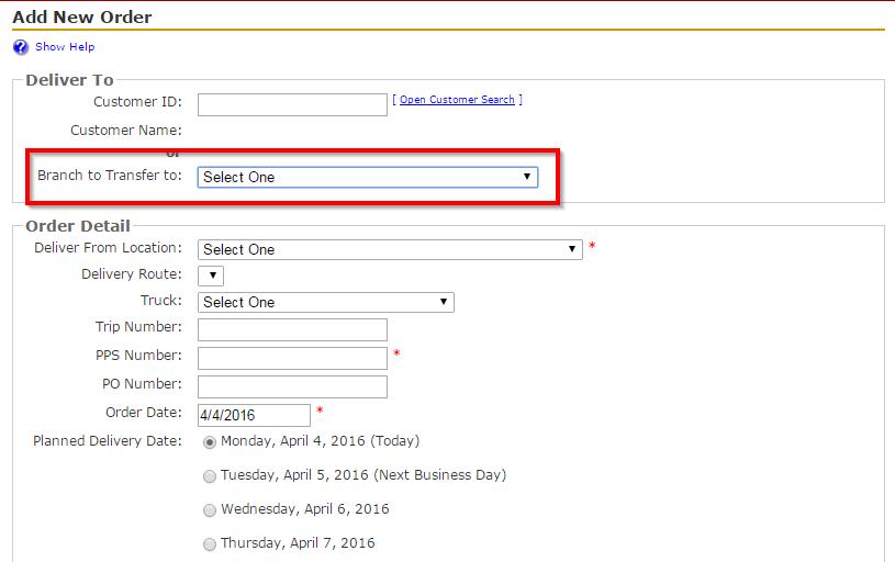 Add New Branch Transfer