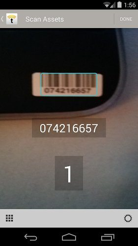 TrackAbout app successfully scanning a blurry barcode