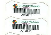Cylinder-specific barcode labels
