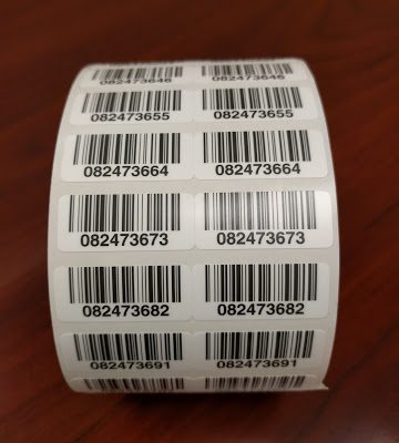 Typical roll of highly durable barcode labels from TrackAbout